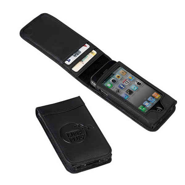 Sleek leather case with two compact card slots and cut out sleev